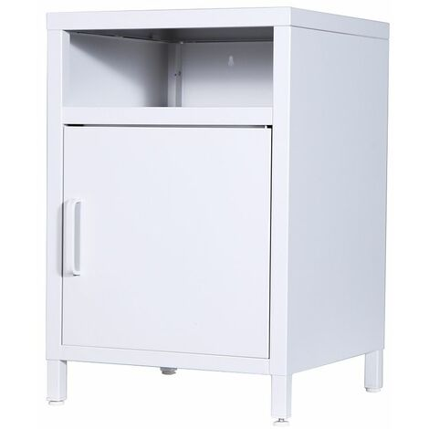 Steel Single Compartment Bedside Table - White