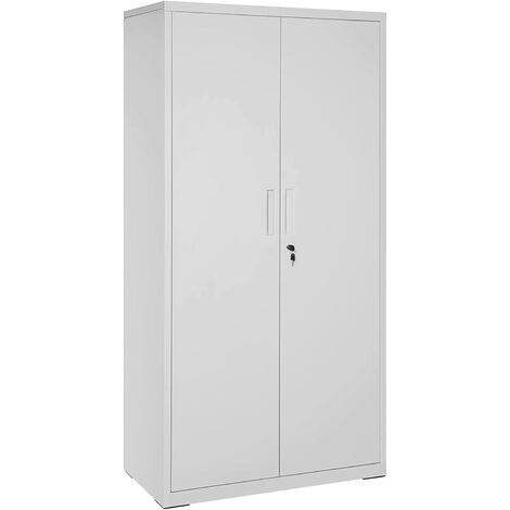 Steel Storage Cabinet, Freestanding Office Cabinet with 5 Storage Shelves and Double Doors, Utility Cupboard for Garage, Study, Sturdy, Grey OMC015G01