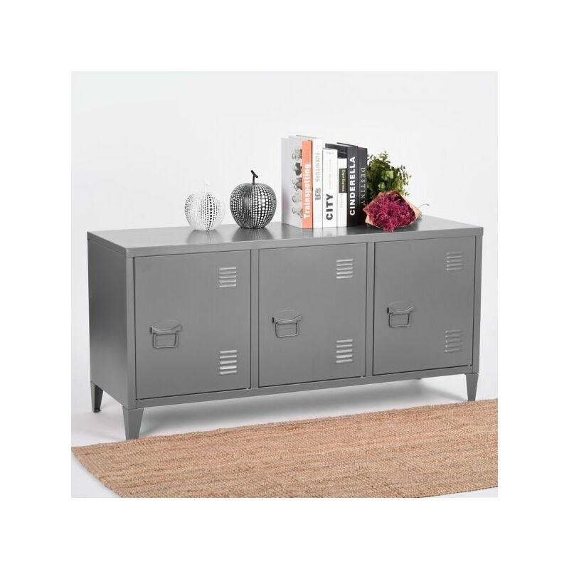 Image of Homylin - Steel Storage Cabinet, Heavy Duty Metal Office Storage Cupboard Locker Cabinet, 2 Levels Open Storage Shelves with 3 Doors for Home Office