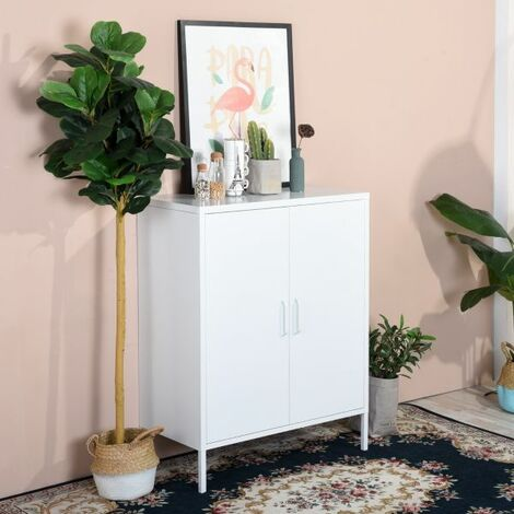Steel Storage Cabinet, Heavy Duty Metal Office Storage Cupboard Locker Cabinet, 3 Levels Open Storage Shelves with 2 Doors for Home Office Study Bedroom Living Room White