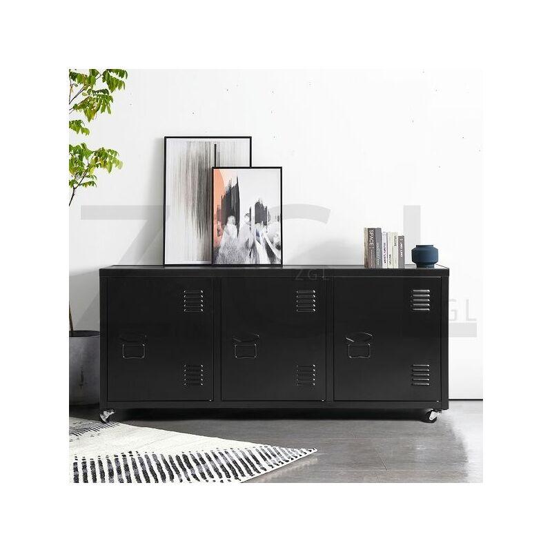 Image of Homylin - Steel Storage Cabinet, Heavy Duty Metal Office Storage Cupboard Locker Cabinet with Wheels 2 Levels Open Storage Shelves with 3 Doors for