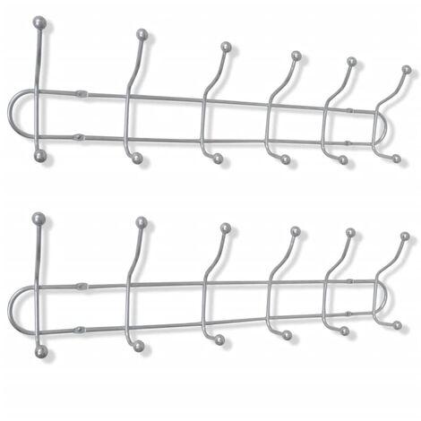 Steel Wall Peg Board with 12 Hooks 2 pcs