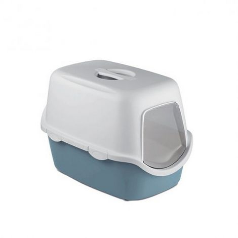 Stefanplast Cathy Hooded Cat Toilet With Filter (One Size) (White/Steel Blue)