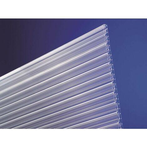 Stegplatte aus Polycarbonat 16mm stark, klar, Steg 3-Fach mit X Struktur, 16/25/3X