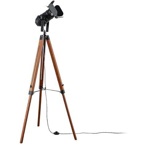 stehlampe aus holz f r wohnzimmer esszimmer von lampenwelt. Black Bedroom Furniture Sets. Home Design Ideas