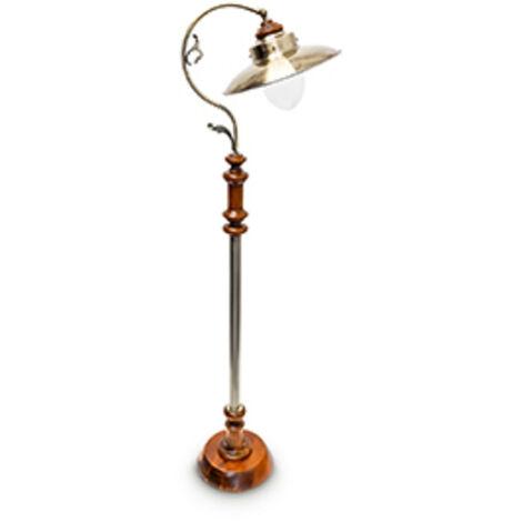 Stehlampe im Jugendstil Design, mit neigbarem Schirm, aus Massivholz und Messing, HBT: ca. 157 x 35 x 39 cm