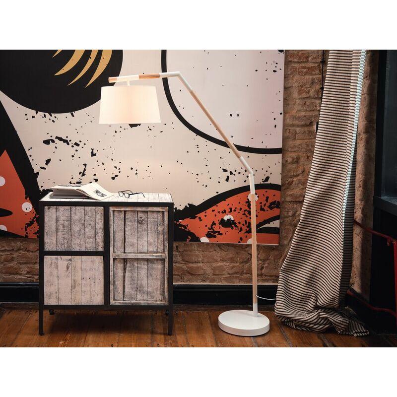 Stehlampe Weiss/Heller Holzfarbton 173 cm Poly-Baumwolle Stehleuchte ohne Leuchtmittel Solide Konstruktion Rund Modernes Design - BELIANI