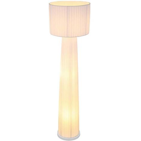 Stehleuchte ARIOLA, Kabel: 1,8m, Plissee, weiß, rund,