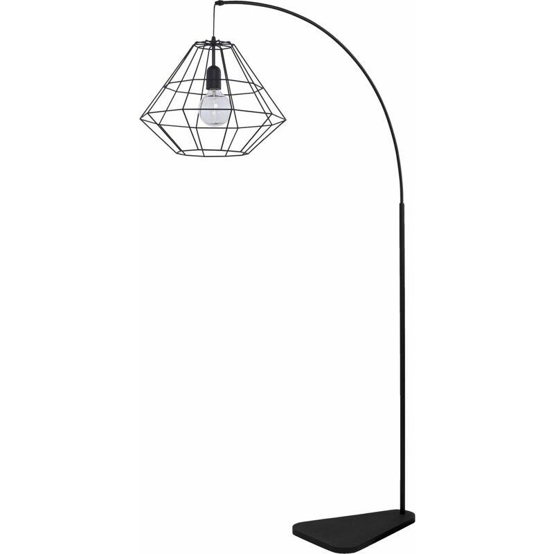 Stehleuchte Bogenlampe Schwarz Metall Schirm eckig - LICHT-ERLEBNISSE