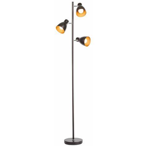 Stehleuchte Design Stehlampe Standleuchte Stand Lampe Metall 3-flammig schwarz
