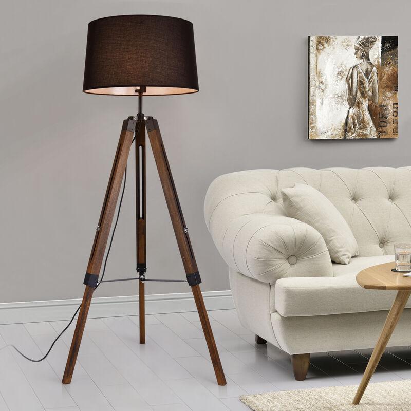 Stehleuchte Karlsbad Stehlampe 1xE27 3-Fuß-Leuchte 145cm Tripod-Standleuchte mit Stoffschirm Schwarz - Holz Dunkel - [LUX.PRO]