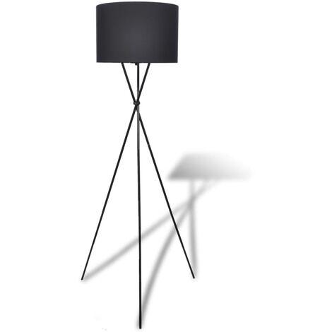 Stehleuchte mit Lampeschirm hohes Ständer Schwarz
