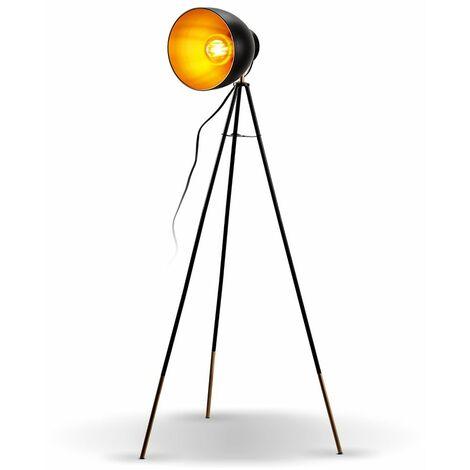 Stehleuchte Retro Design Stehlampe Vintage Standleuchte Metall schwarz gold E27