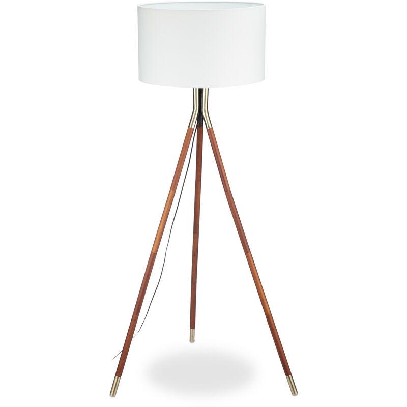 Relaxdays - Stehleuchte Wohnzimmer, 3 Holzbeine, Gestell mit Messing-Finish, Stoffschirm 48 cm Ø, 150 cm hoch, weiß/braun