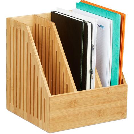 Stehsammler Bambus, 3 Fächer, DIN A4, Büro & Schreibtisch, Zeitschriftensammler, HBT: 30 x 28 x 26,5 cm, natur