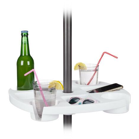 Stehtisch für Sonnenschirm, rund, Flaschenhalter & Ablagen, höhenverstellbar, HxD: 8x43cm, Kunststoff, weiß