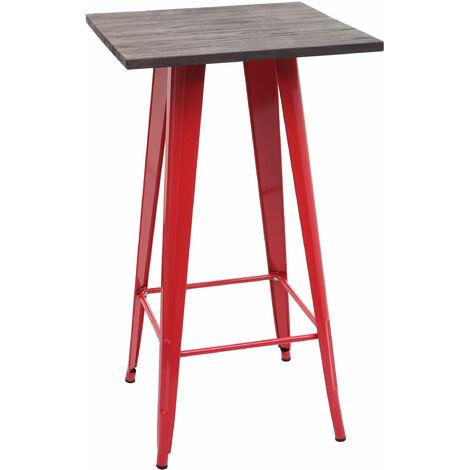 Stehtisch HHG-401 inkl. Holz-Tischplatte, Bistrotisch Bartisch, Metall Industriedesign 107x60x60cm