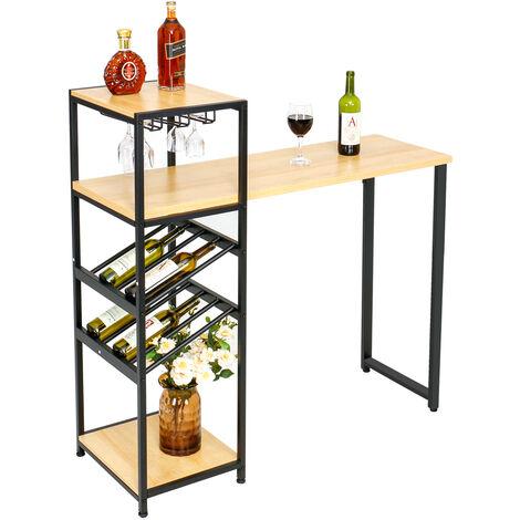 Stehtisch Hoher Holztisch Bartisch mit 2 Weinregalen für Küche, Esszimmer