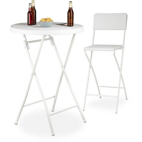 Stehtisch klappbar weiß BASTIAN rund, Bistrotisch HxD: 110 x 80 cm, Rattan-Optik, Wetterfest, Bartisch, white