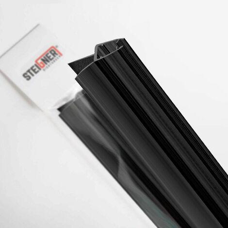 STEIGNER Duschdichtung, Glasstärke 6/7/ 8 mm, Gerade PVC Ersatzdichtung für Dusche, Schwarz, UK03S