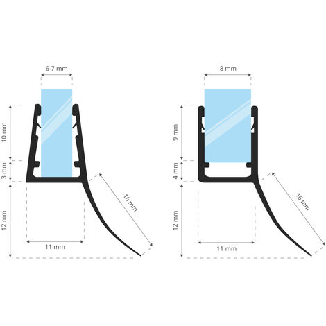 STEIGNER Duschdichtung, Glasstärke 6/7/ 8 mm, Gerade PVC Ersatzdichtung für Dusche, UK12