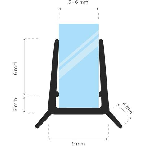 STEIGNER Joint de douche pour paroi en verre, 160cm, vitre 5/ 6 mm, joint d\'étanchéité PVC droit pour les cabines de douche réctangulaires, UK24-06 - Transparent