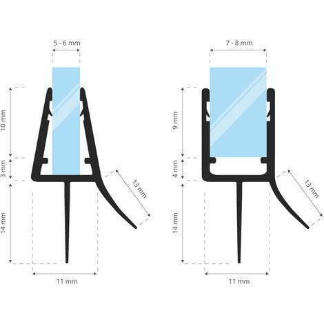 STEIGNER Joint de douche pour paroi en verre, 160cm, vitre 5/ 6 mm, joint d\'étanchéité PVC droit pour les cabines de douche réctangulaires, UK33-06 - Transparent
