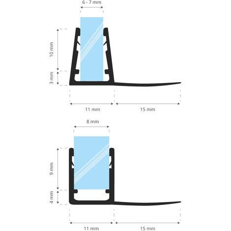 STEIGNER Joint de douche pour paroi en verre, 170cm, vitre 6/ 7/ 8 mm, joint d\'étanchéité PVC droit pour les cabines de douche réctangulaires, UK02 - Transparent