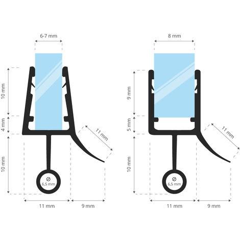 STEIGNER Joint de douche pour paroi en verre, 180cm, vitre 6/7/8mm, joint d\'étanchéité PVC droit pour les cabines de douche réctangulaires, UK08 - Transparent