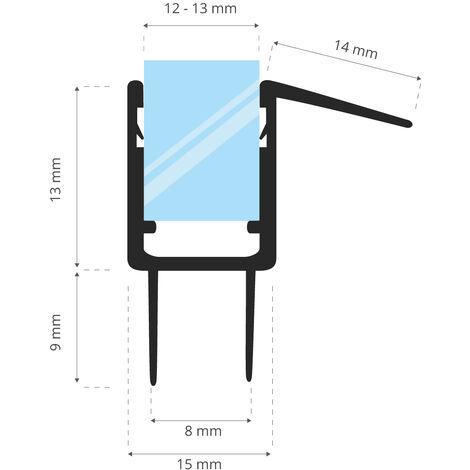STEIGNER Joint de douche pour paroi en verre, 40cm, vitre 12/ 13 mm, joint d\'étanchéité PVC droit pour les cabines de douche réctangulaires, UK20-12 - Transparent
