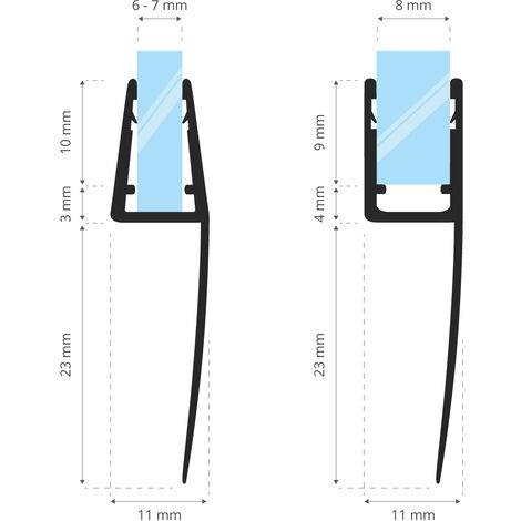 STEIGNER Joint de douche pour paroi en verre, 40cm, vitre 6/7/8mm, joint d\'étanchéité PVC courbé pour les cabines de douche arrondies, UK05 -