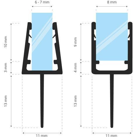 STEIGNER Joint de douche pour paroi en verre, 60cm, vitre 6/7/8mm, joint d\'étanchéité PVC courbé pour les cabines de douche arrondies, UK10 -