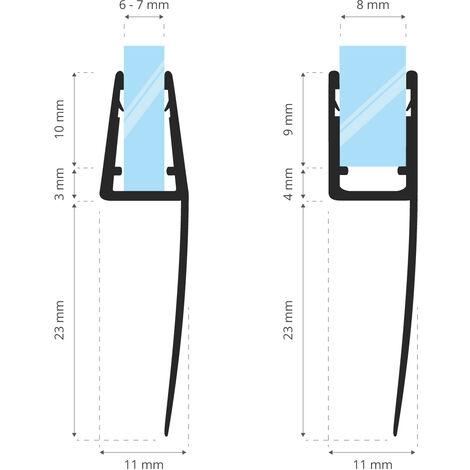 STEIGNER Joint de douche pour paroi en verre, 60cm, vitre 6/7/8mm, joint d\'étanchéité PVC droit pour les cabines de douche réctangulaires, UK05 -
