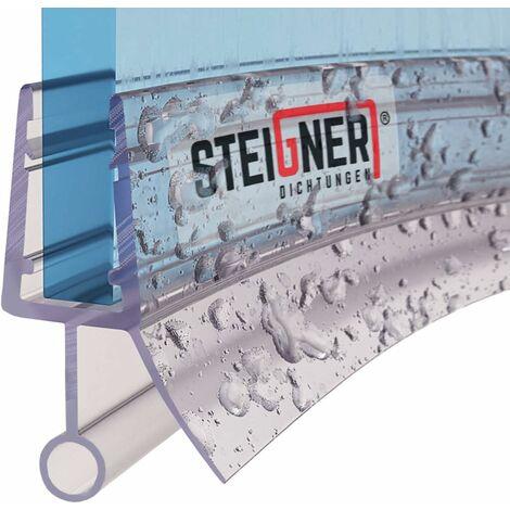 STEIGNER Joint de douche pour paroi en verre, 80cm, vitre 6/7/8mm, joint d\'étanchéité PVC courbé pour les cabines de douche arrondies, UK08 - Transparent