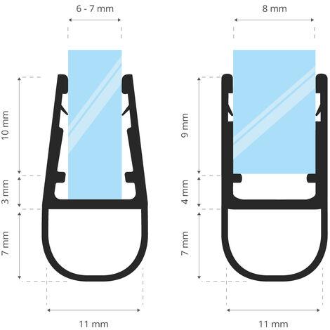 STEIGNER Joint de douche pour paroi en verre, 80cm, vitre 6/7/8mm, joint d\'étanchéité PVC droit pour les cabines de douche réctangulaires, UK07 -