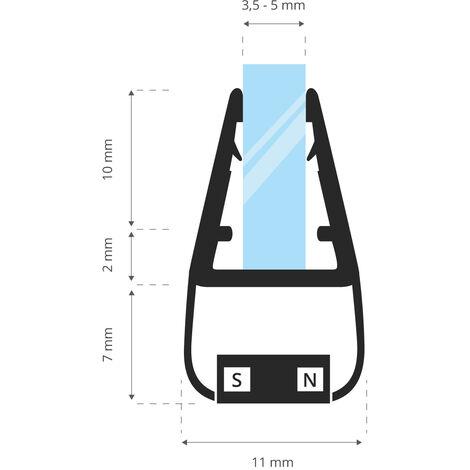 STEIGNER Magnetduschdichtung, Glasstärke 3,5/4/ 5mm, Ersatzdichtung für Duschtür, UKM01, 1 Stück