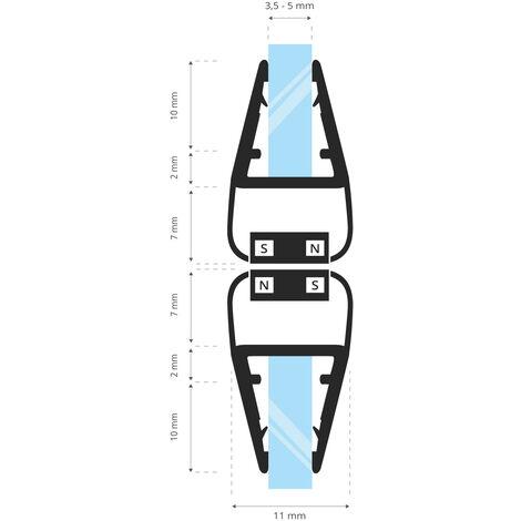 STEIGNER Magnetduschdichtung SET, Glasstärke 3,5/4/ 5mm, Ersatzdichtung für 180 Grad Duschtür, UKM01, 2 Stück