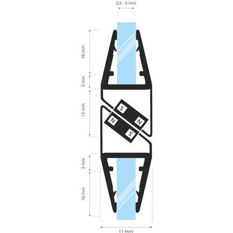 STEIGNER Magnetduschdichtung SET, Glasstärke 3,5/4/ 5mm, Ersatzdichtung für 180 Grad Duschtür, UKM03, 2 Stück
