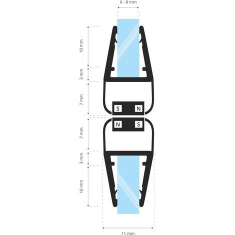 STEIGNER Magnetduschdichtung SET, Glasstärke 6/7/ 8mm, Ersatzdichtung für 180 Grad Duschtür, UKM02, 2 Stück