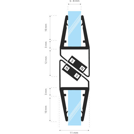 STEIGNER Magnetduschdichtung SET, Glasstärke 6/7/ 8mm, Ersatzdichtung für 180 Grad Duschtür, UKM04, 2 Stück