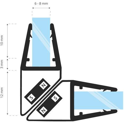 STEIGNER Magnetduschdichtung SET, Glasstärke 6/7/ 8mm, Ersatzdichtung für 90 Grad Duschtür, UKM04, 2 Stück