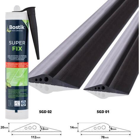 STEIGNER Seuil de porte Garage avec Colle de Montage en EPDM, 1,5 m, 14 mm x 78 mm, SGD01 - Noir