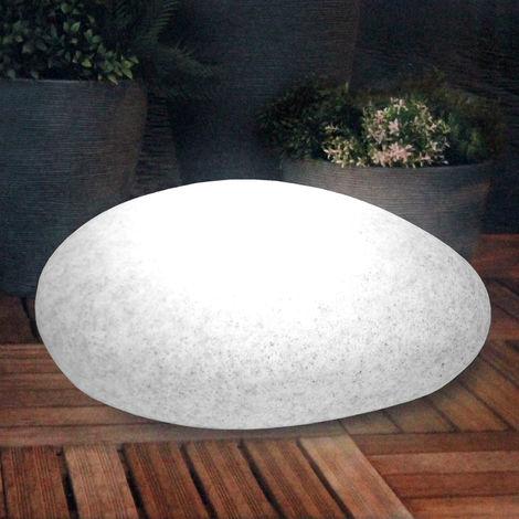 Stein Optik Gartenleuchte Kugelleuchte inkl. Erdspieß, 30x40xH17cm oval 18 weiße LEDs LED Beleuchtung für Innen / Außen, Lichtobjekt Stimmungslicht
