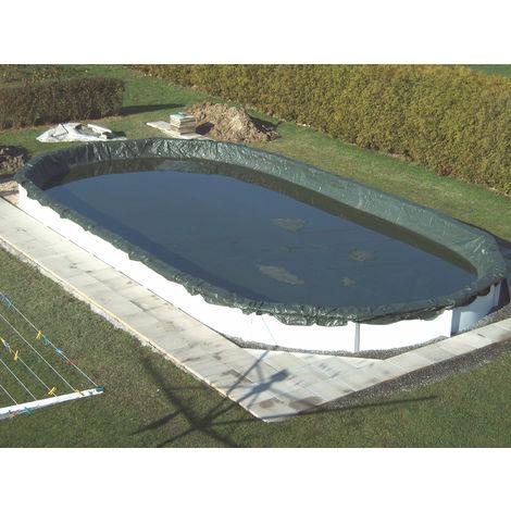 """Steinbach Abdeckplane """"Winter"""" für ovale Swimming Pool Stahlwandbecken grün 730 x 370 cm"""
