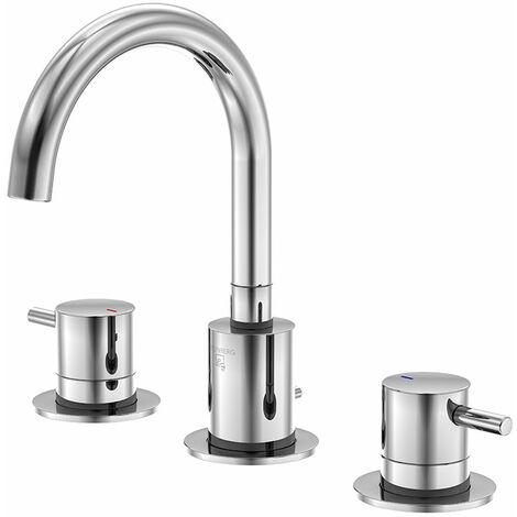 Steinberg Serie 100 Mezclador de lavabo de 3 agujeros, juego de desagüe, cromado - 1002000