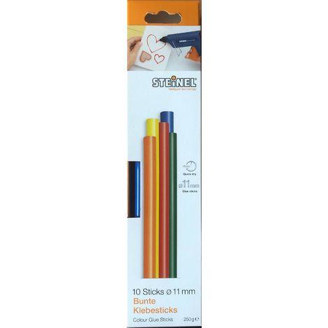 Steinel 10 Bunte Klebesticks Ø 10 mm, Schmelzklebestoff Klebestick für Heißklebepistole farbig