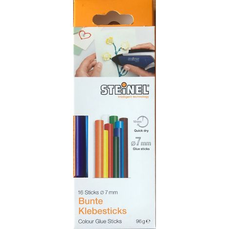 Steinel 16 Bunte Klebesticks Ø 7 mm, Schmelzklebestoff Klebestick für Heißklebepistole farbig