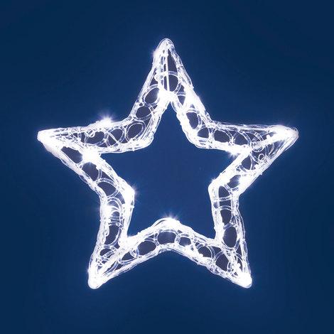 Stella Di Natale A Batteria.Stella A Batteria Acrylic Ice 28 Cm 20 Led Bianco Freddo Cavo