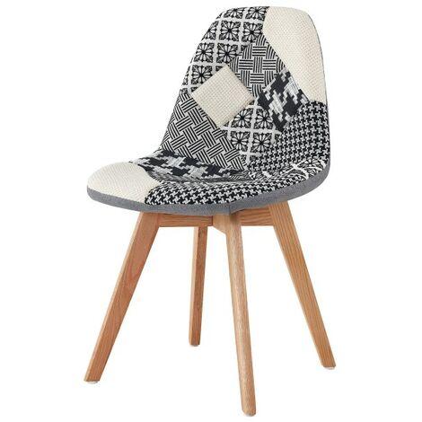 """main image of """"STELLA-Chaise scandinave tissu Patchwork noir pieds hêtre (x1) - Patchwork noir"""""""