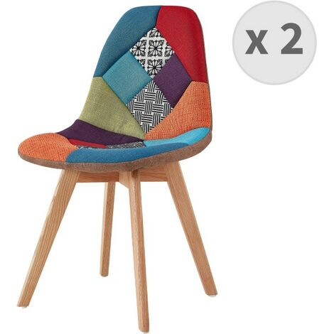 """main image of """"STELLA-Chaise scandinave tissu Patchwork rouge pieds hêtre (x2) - Multicolore"""""""